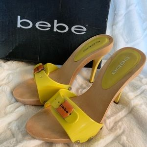 Bebe yellow high heeled slides size 7